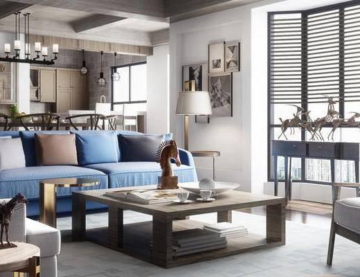 北欧客厅, 多人沙发, 茶几, 桌子, 椅子, 吊灯, 边几, 台灯, 壁画, 北欧