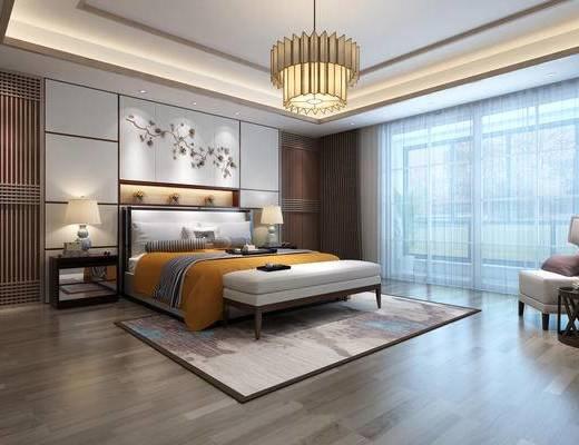 新中式, 卧室, 吊灯, 台灯, 地毯, 窗帘, 背景墙, 托盘, 下得乐3888套模型合辑