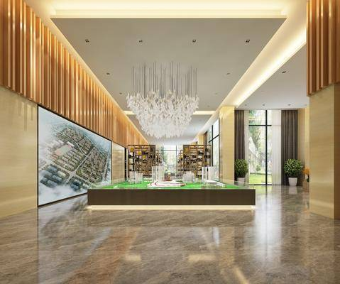 现代售楼部, 沙盘, 吊灯, 置物柜, 现代