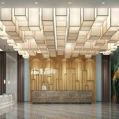 现代售楼部, 吊灯, 壁画, 展柜, 现代