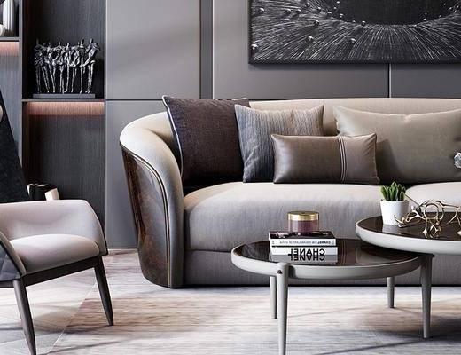 沙发组合, 茶几, 壁画, 椅子, 多人沙发, 置物柜, 现代