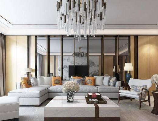 新中式客厅, 吊灯, 多人沙发, 茶几, 边几, 椅子, 台灯, 壁画, 新中式