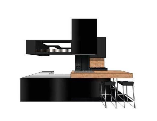 厨柜, 橱柜, 厨房, 现代, 吧台, 椅子