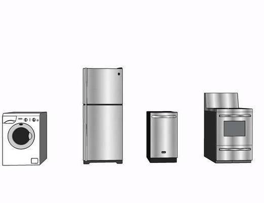 现代, 冰箱, 摆件, 装饰, 洗衣机