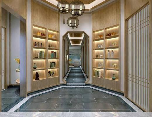 走廊过道, 置物柜, 吊灯, 新中式