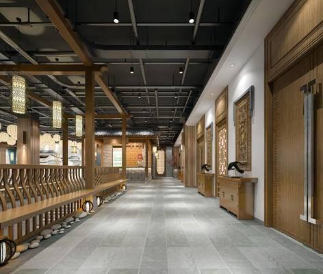 走廊过道, 壁画, 吊灯, 边柜, 中式