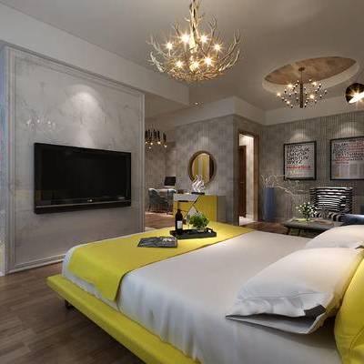 现代卧室, 双人床, 吊灯, 沙发, 桌子, 椅子, 壁画, 边柜, 边几, 花瓶, 现代
