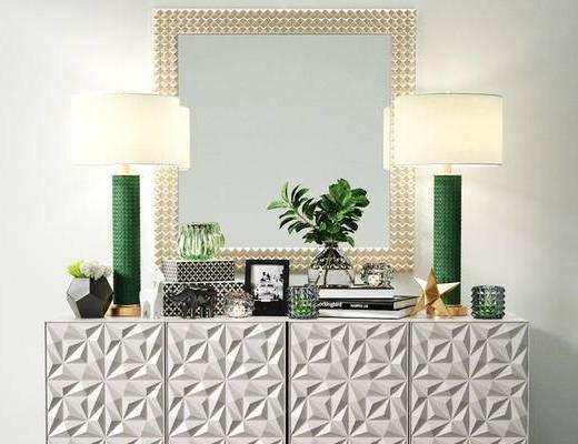 现代简约, 玄关柜, 台灯, 陈设品组合, 植物