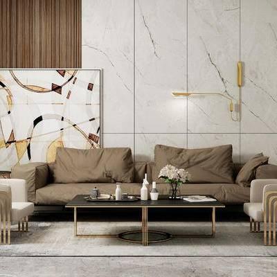 沙发组合, 双人沙发, 茶几, 边几, 花瓶, 椅子, 壁灯, 现代