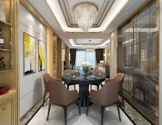 后现代, 客厅, 餐厅, 沙发, 茶几, 吊灯, 挂画, 餐桌, 椅子, 吸顶灯, 置物架, 红酒
