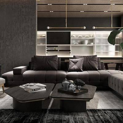现代客厅, 多人沙发, 椅子, 茶几, 吊灯, 置物柜, 盆栽, 现代