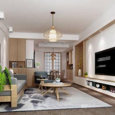 日式客厅, 吊灯, 电视柜, 多人沙发, 壁画, 桌子, 椅子, 花瓶, 盆栽, 置物柜, 茶几, 地毯, 日式