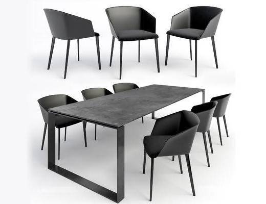 美式, 工业风格, loft, 桌椅组合