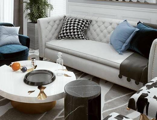 后现代桌椅组合, 多人沙发, 茶几, 单人椅, 边几, 后现代