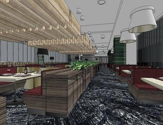 现代餐厅, 桌子, 椅子, 吊灯, 现代