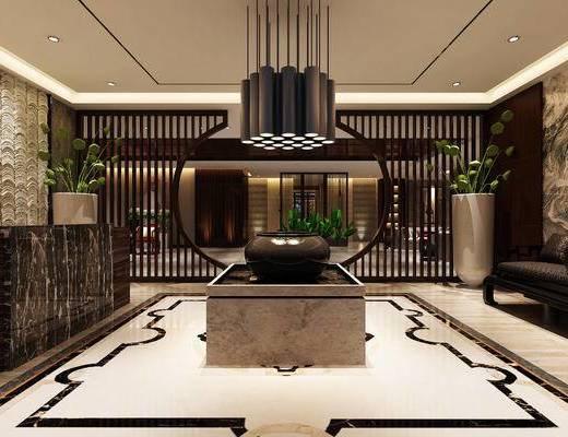 现代前台, 吊灯, 多人沙发, 椅子, 壁画, 盆栽, 现代