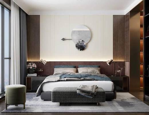 沙发脚榻, 床具组合, 卧室, 背景墙