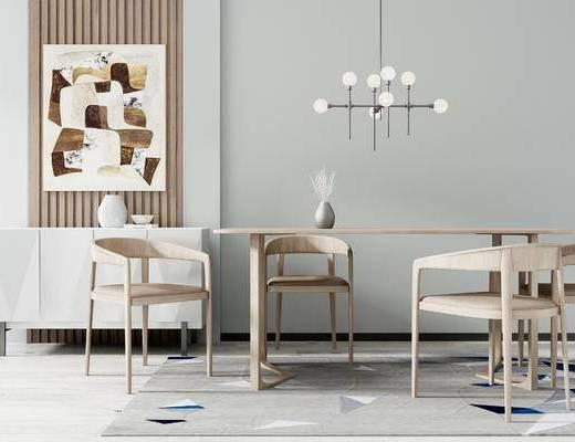 桌椅组合, 壁画, 桌子, 椅子, 吊灯, 中式