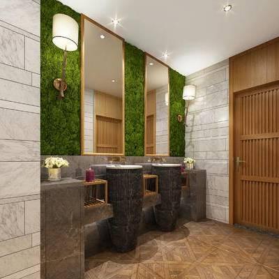 现代卫生间, 洗手台, 壁灯, 镜子, 现代