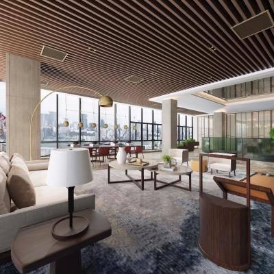 新中式售楼处, 休闲区, 多人沙发, 台灯, 落地灯, 桌椅组合, 地毯, 新中式