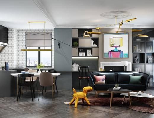 现代客厅, 双人沙发, 桌椅, 茶几, 挂画, 吊灯, 单人沙发, 书架, 现代