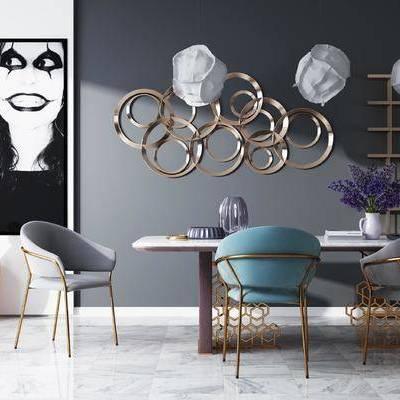 桌椅组合, 吊灯, 桌子, 椅子, 壁画, 储物架, 花瓶, 后现代