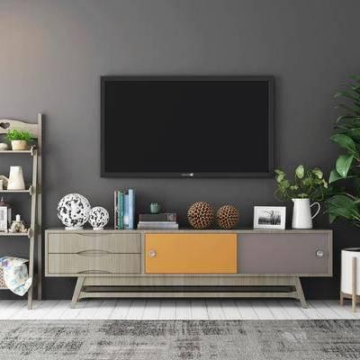 电视柜, 储物架, 盆栽, 相框, 地毯, 北欧