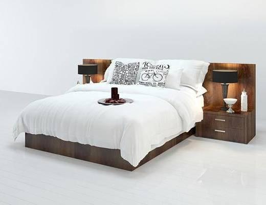 现代, 床, 床头柜, 台灯