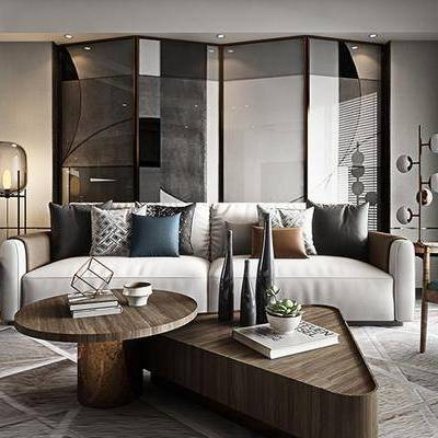 现代客厅, 双人沙发, 茶几, 落地灯, 边几, 台灯, 沙发躺椅, 屏风, 现代