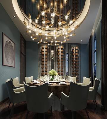 中式包间, 桌子, 椅子, 吊灯, 壁画, 花瓶, 中式