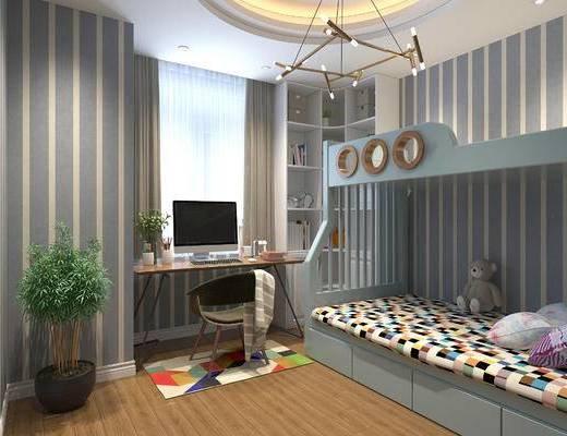 现代简约卧室, 上下床, 吊灯, 桌椅组合, 储物柜, 盆栽, 玩具, 地毯, 现代简约