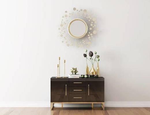 摆件组合, 装饰柜, 花瓶, 后现代