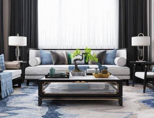 新中式客厅, 多人沙发, 椅子, 茶几, 壁画, 边几, 台灯, 新中式