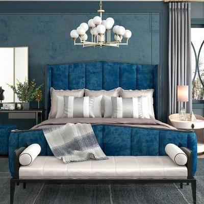 床具组合, 双人床, 多人沙发, 吊灯, 桌子, 台灯, 床头柜, 沙发凳, 简欧