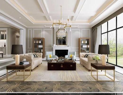 简欧, 客厅, 多人沙发, 茶几, 吊灯, 置物柜, 边几, 台灯