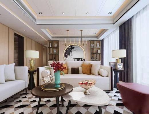 新中式, 客厅, 沙发茶几组合, 台灯, 花瓶