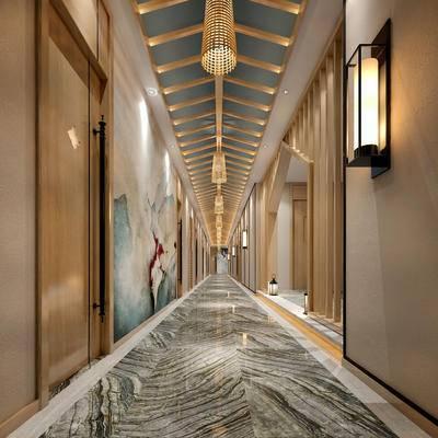 走廊过道, 壁灯, 壁画, 吊灯, 新中式