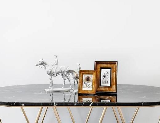 摆件组合, 桌子, 雕塑, 相框, 现代