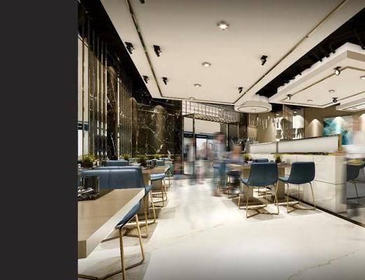 店铺, 面馆, 餐桌椅, 椅子, 鸟瞰, 后现代