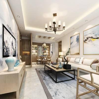 新中式, 客餐厅, 客厅, 中式客厅, 中式沙发, 沙发茶几组合