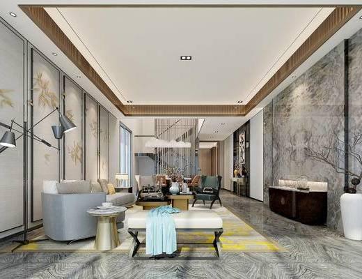 后现代客餐厅, 壁画, 多人沙发, 椅子, 边柜, 沙发躺椅, 落地灯, 桌子, 边几, 台灯, 后现代