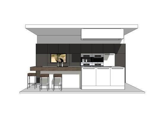 厨柜, 橱柜, 厨房, 椅子, 吧台, 现代