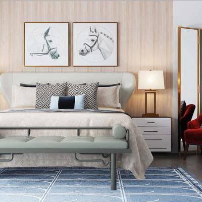 床具组合, 壁画, 台灯, 床头柜, 椅子, 床尾塌, 后现代