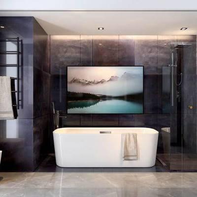卫生间, 浴缸, 壁画, 马桶, 毛巾, 置物架, 淋浴间, 现代