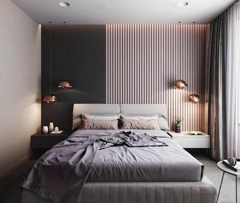 现代简约, 床具组合, 吊灯, 双人床