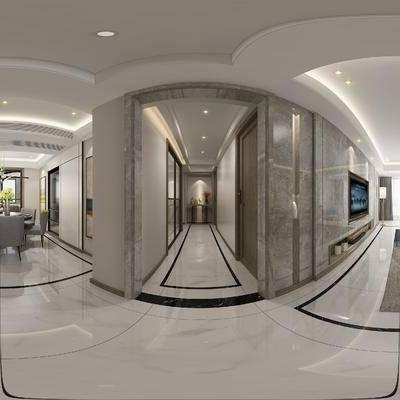 现代简约客餐厅玄关, 玄关, 边几, 多人沙发, 桌椅组合, 吊灯, 壁画, 落地灯, 沙发单椅, 茶几, 边柜, 现代简约