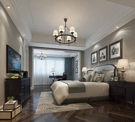 现代卧室, 双人床, 挂画, 吊灯, 边柜, 床头柜, 台灯, 桌椅, 现代