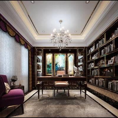 简欧书房, 置物柜, 吊灯, 桌子, 壁画, 椅子, 边几, 简欧