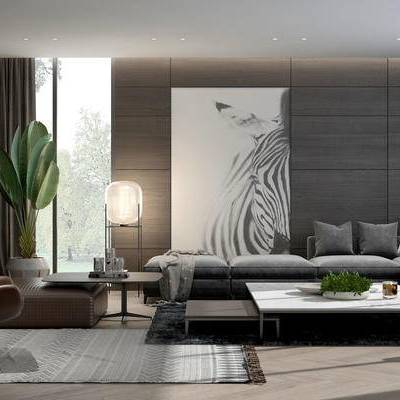 现代客厅, 茶几, 多人沙发, 壁画, 边柜, 落地灯, 椅子, 盆栽, 现代