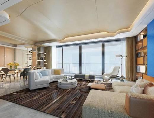 后现代客厅, 多人沙发, 茶几, 椅子, 落地灯, 置物柜, 桌子, 沙发躺椅, 后现代